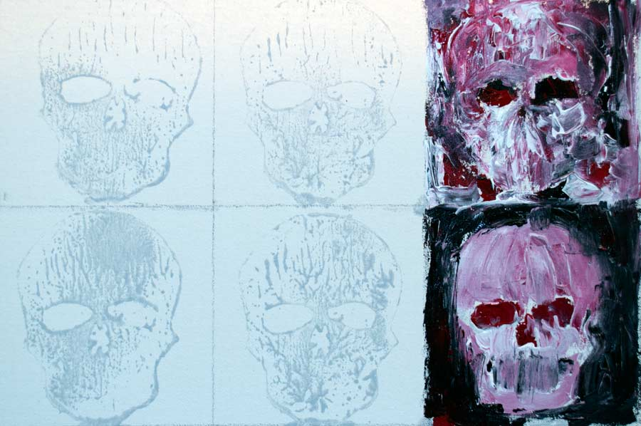 '200 Skulls', Work in progress detail, 3mx1.5m 2014